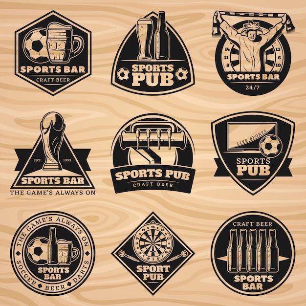 Zwarte vintage sport bar labels set Gratis Vector