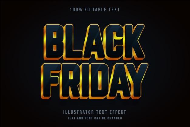 Zwarte vrijdag, 3d bewerkbaar teksteffect blauw gradatie geel goud stijleffect Premium Vector