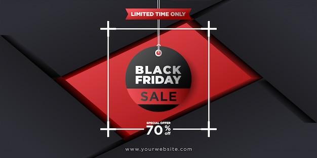 Zwarte vrijdag achtergrond met hang tag Premium Vector