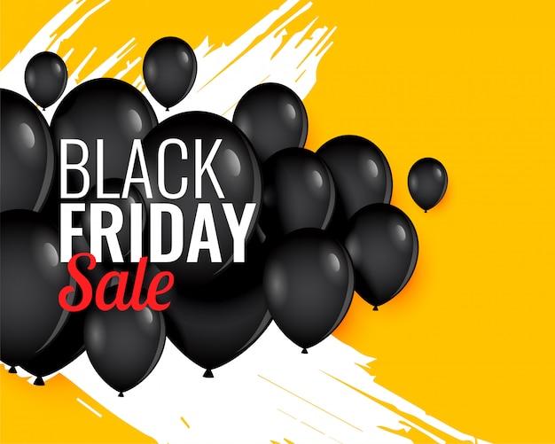 Zwarte vrijdag ballon achtergrond voor verkoop en promotie Gratis Vector
