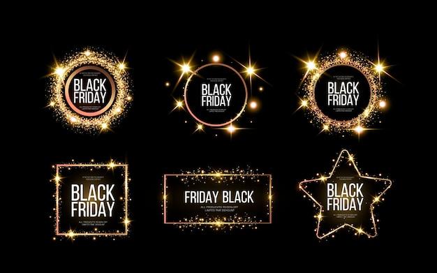 Zwarte vrijdag banner. een feestelijke gouden, gloeiende lijst die bezaaid is met goudstof. Premium Vector