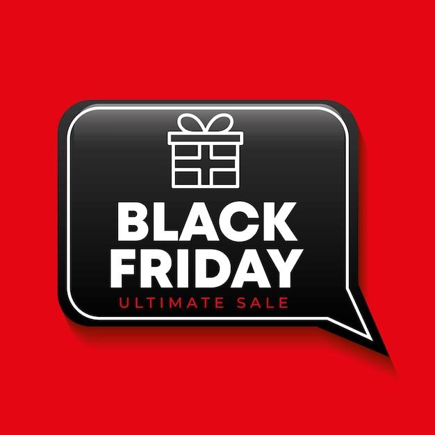 Zwarte vrijdag banner met tekstballon en cadeau-pictogram Premium Vector