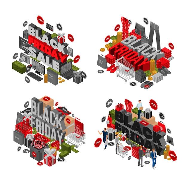 Zwarte vrijdag banner set. isometrische reeks van zwarte vrijdag vectorbanner voor webontwerp Premium Vector