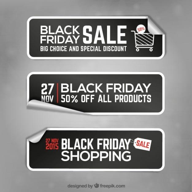 Zwarte vrijdag banner stickers Premium Vector