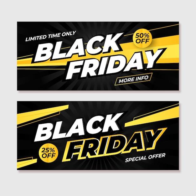 Zwarte vrijdag banners met kleurovergang Gratis Vector