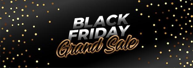 Zwarte vrijdag ggrand verkoopbanner in gouden thema Gratis Vector