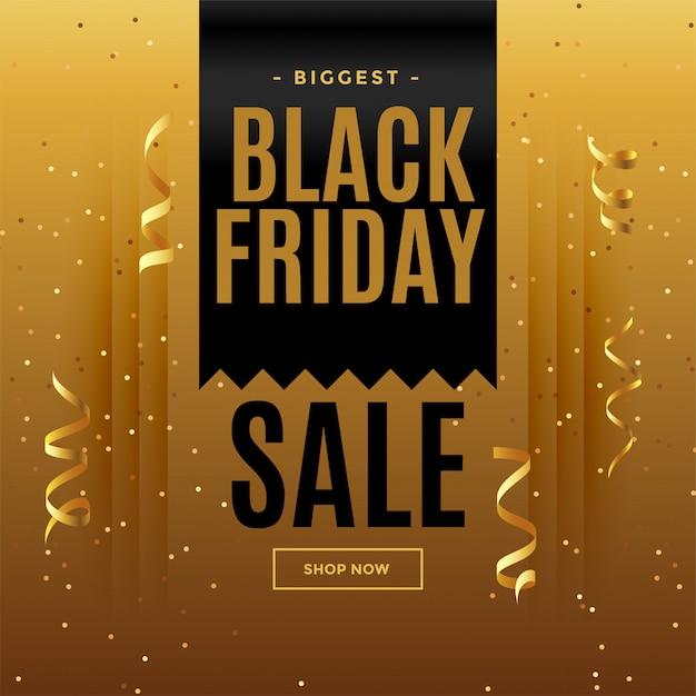 Zwarte vrijdag gouden verkoopbanner in vieringsstijl Gratis Vector