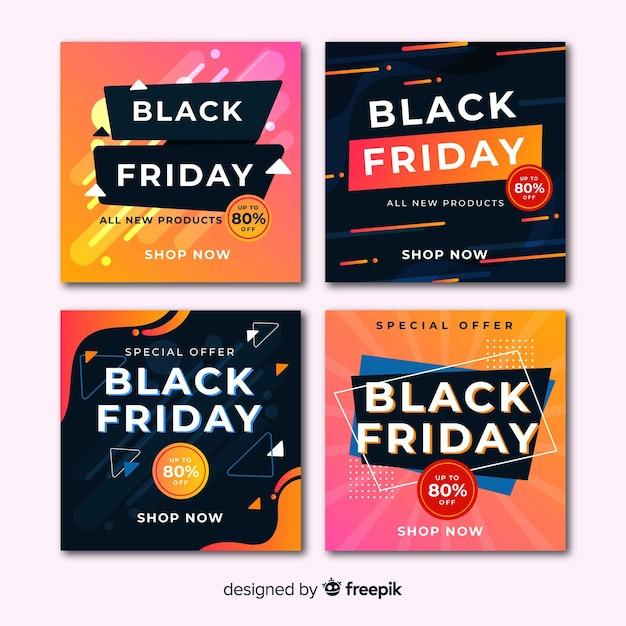Zwarte vrijdag instagram postverzameling Gratis Vector