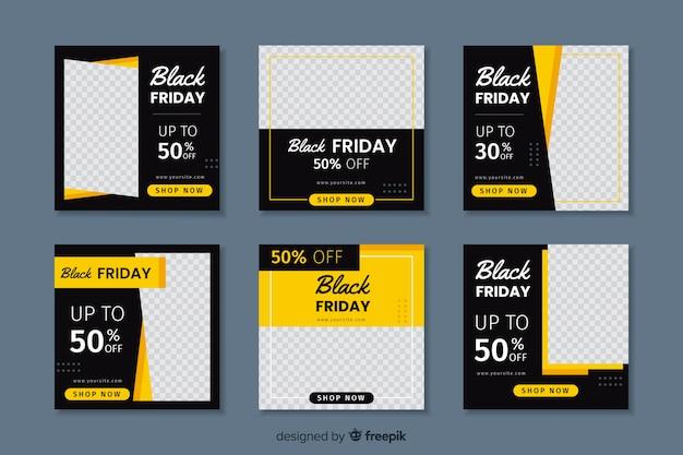 Zwarte vrijdag instagram postverzameling Premium Vector