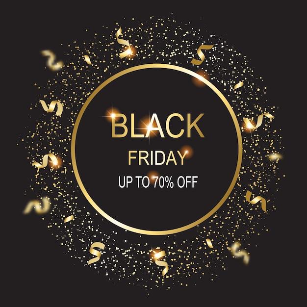 Zwarte vrijdag kaart illustratie op zwarte achtergrond. Premium Vector