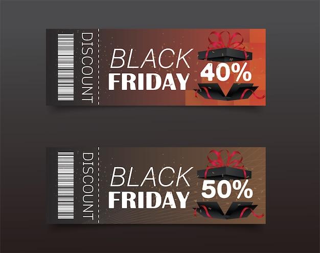 Zwarte vrijdag kortingsbon ontwerp. verkooppictogram. winkelen. Premium Vector