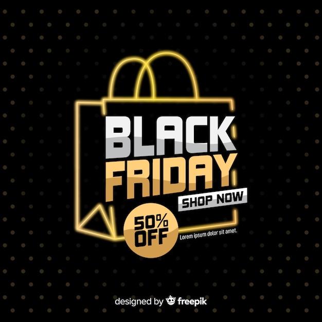 Zwarte vrijdag met boodschappentas op donkere achtergrond Gratis Vector