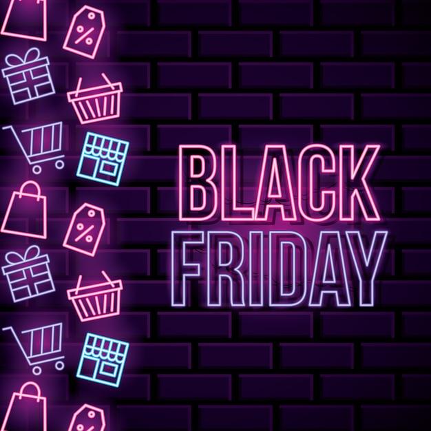 Zwarte vrijdag neon banner met pictogrammen winkelen en tekst Premium Vector