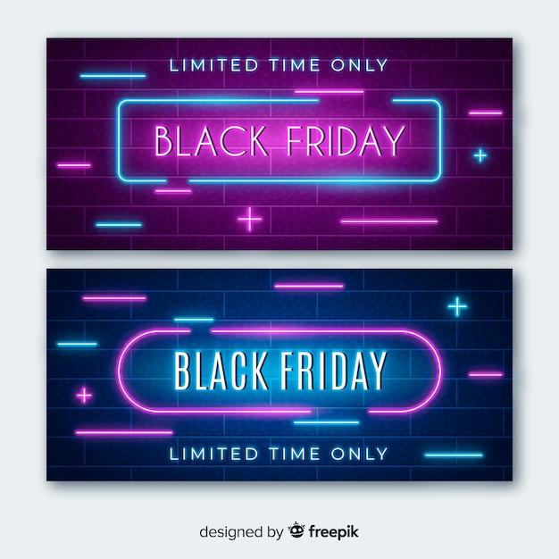 Zwarte vrijdag neonlicht banners met plustekens en mintekens Gratis Vector