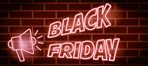 Zwarte vrijdag neonlichten label met megafoon Gratis Vector