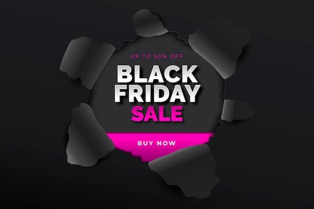 Zwarte vrijdag op papier stijlachtergrond Gratis Vector