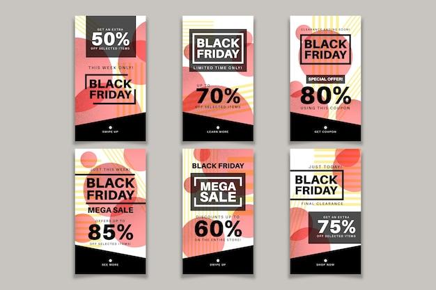 Zwarte vrijdag postverzameling sociale media Gratis Vector