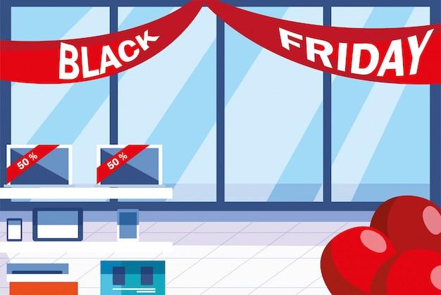 Zwarte vrijdag promotionele verkoop winkelen banner met producten en korting Premium Vector