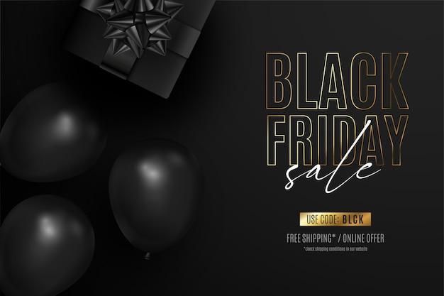 Zwarte vrijdag realistische banner met cadeautjes en ballonnen Gratis Vector