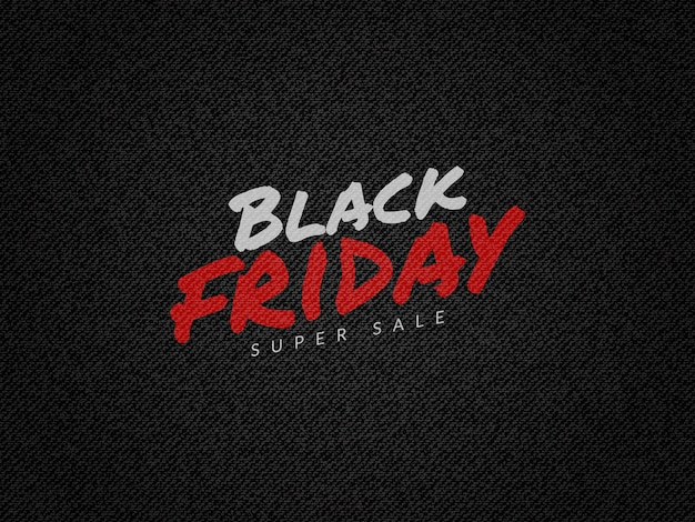 Zwarte vrijdag super verkoop achtergrond met zwarte jeans denim textuur Premium Vector