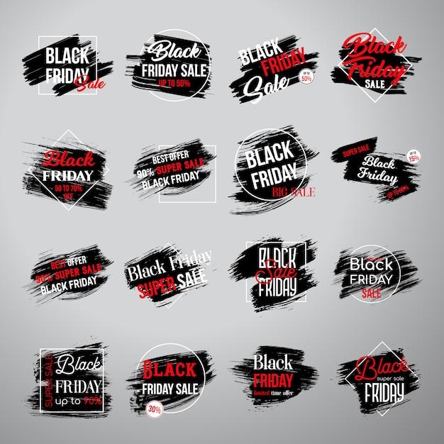 Zwarte vrijdag-tags Gratis Vector