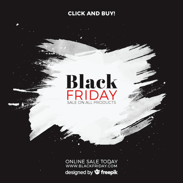 Zwarte vrijdag verkoop achtergrond met aquarel vlekken Gratis Vector