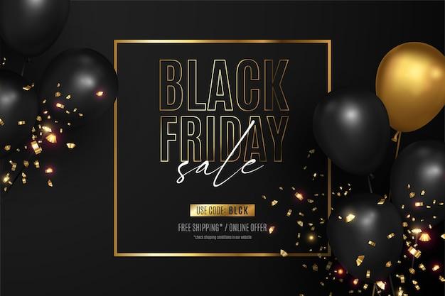 Zwarte vrijdag verkoop achtergrond met gouden frame Gratis Vector