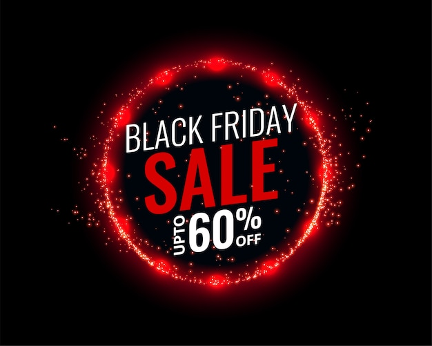 Zwarte vrijdag verkoop achtergrond met rode lichten effect Gratis Vector