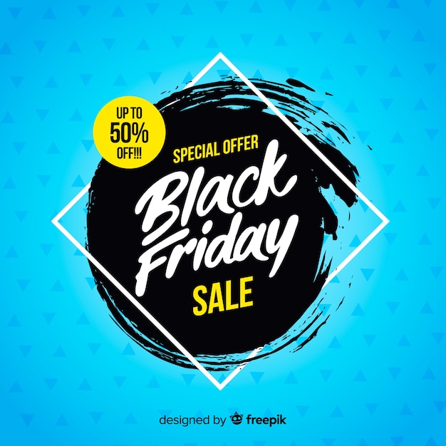 Zwarte vrijdag verkoop achtergrond met typografie Gratis Vector