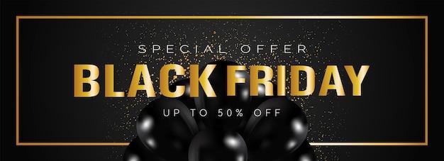 Zwarte vrijdag verkoop banner met gouden letters Premium Vector