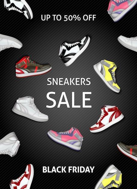 Zwarte vrijdag verkoop banner met kleurrijke sneakers Gratis Vector