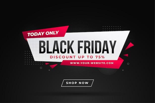 Zwarte vrijdag verkoop banner met kortingsdetails Premium Vector