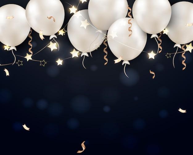 Zwarte vrijdag verkoop banner witte ballonnen. Premium Vector