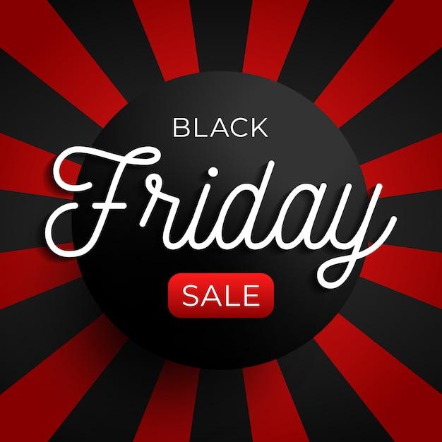 Zwarte vrijdag verkoop cirkel banner op rode en zwarte achtergrond. illustratie Premium Vector
