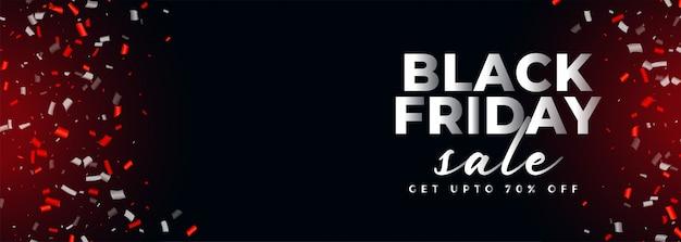 Zwarte vrijdag verkoop confetti banner met tekst ruimte Gratis Vector