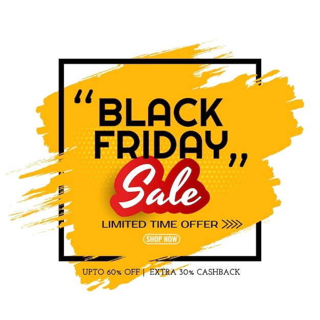 Zwarte vrijdag verkoop gele penseelstreek frame achtergrond Gratis Vector
