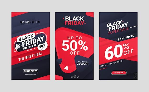 Zwarte vrijdag verkoop instagram verhalen post sjabloonontwerp collectie Premium Vector