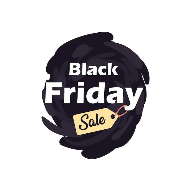 Zwarte vrijdag verkoop met label op penseelstreek vlakke stijl pictogram ontwerp, aanbieding opslaan en winkelen thema Premium Vector