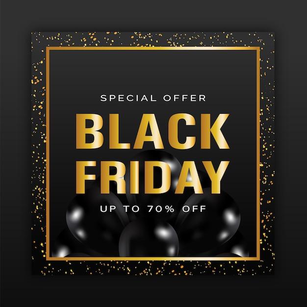 Zwarte vrijdag verkoop poster met gouden letters Premium Vector