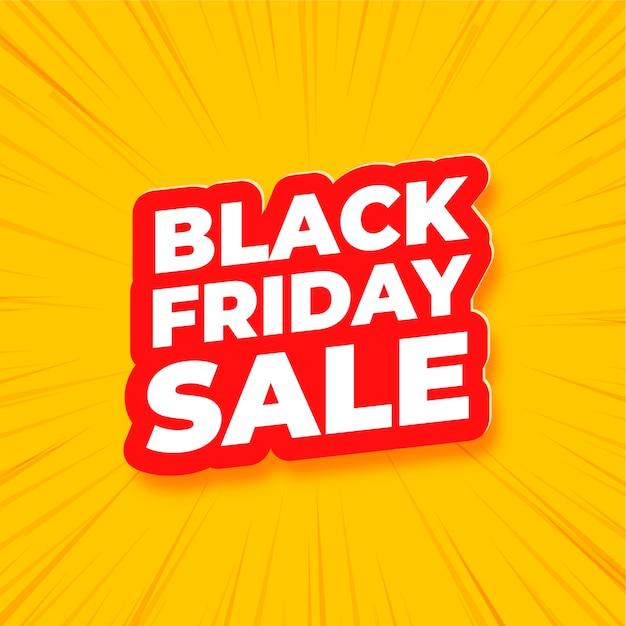 Zwarte vrijdag verkoop tekstbanner op geel Gratis Vector