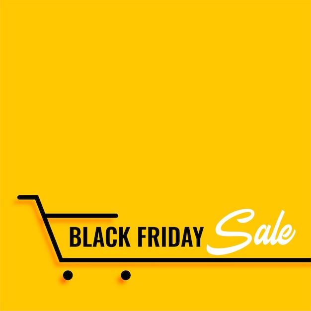 Zwarte vrijdag verkoop winkelwagentje gele achtergrond Gratis Vector