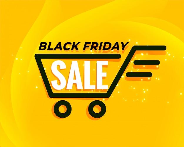 Zwarte vrijdag winkelwagen verkoop achtergrond Gratis Vector