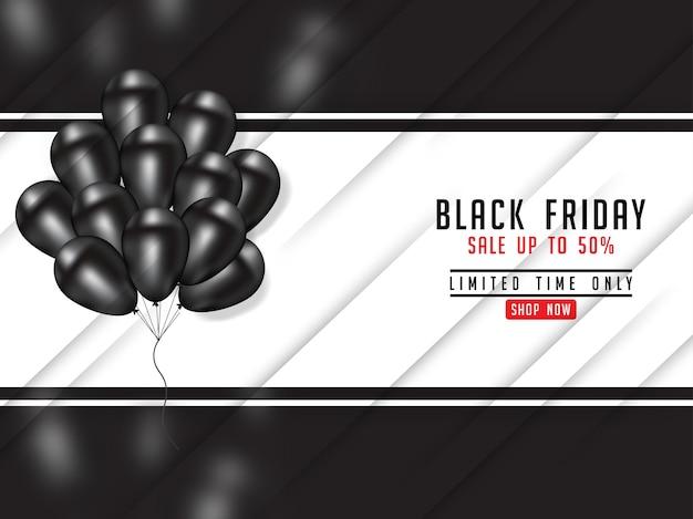 Zwarte vrijdagaffiche met realistische 3d ballon Premium Vector