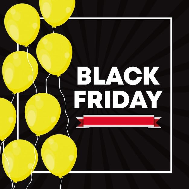 Zwarte vrijdagbanner met ballonslucht Premium Vector