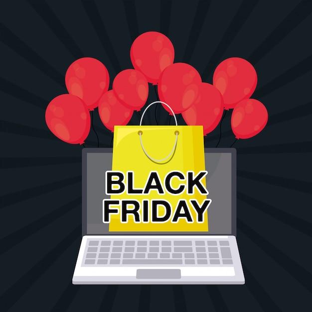 Zwarte vrijdagbanner met laptop computer Premium Vector