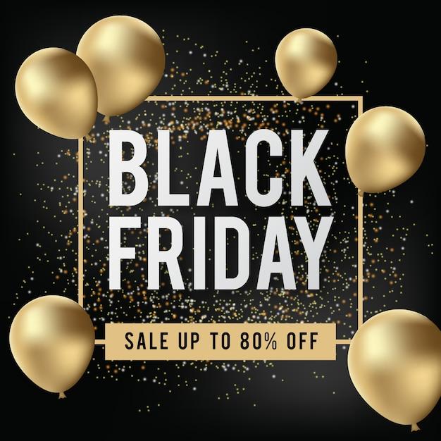 Zwarte vrijdagbanner met realistische gouden ballon Premium Vector