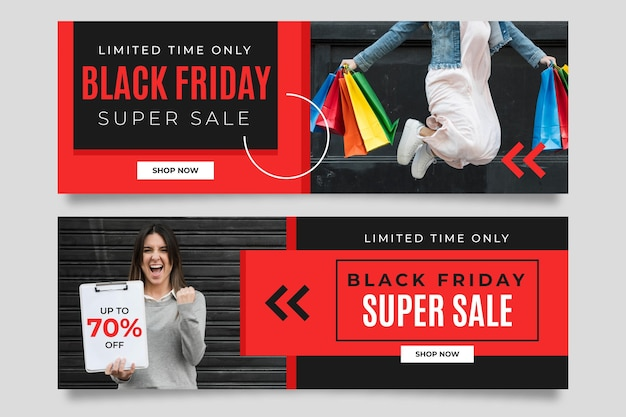 Zwarte vrijdagbanners met foto in vlak ontwerp Premium Vector