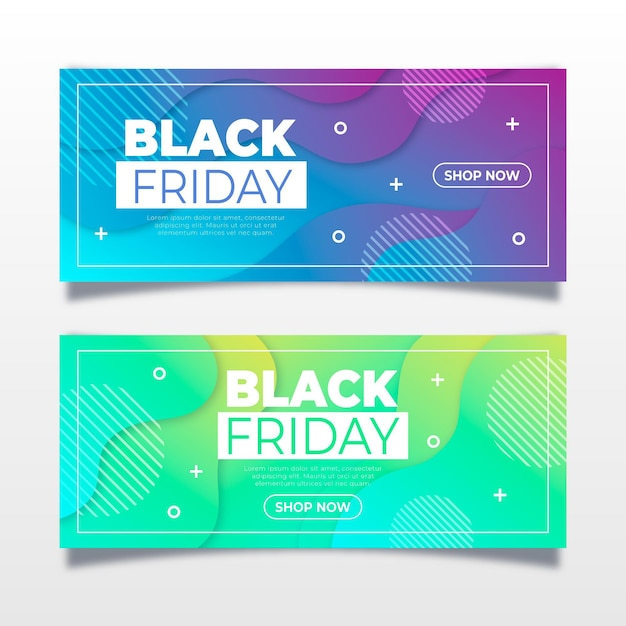 Zwarte vrijdagbanners met kleurovergang Premium Vector