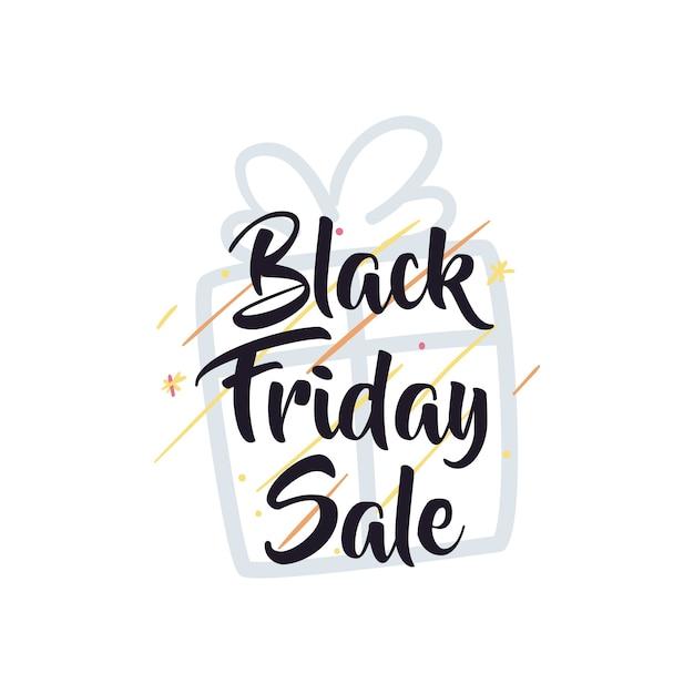 Zwarte vrijdagverkoop met cadeau en sterren plat stijlicoon ontwerp, aanbieding opslaan en winkelen thema Premium Vector