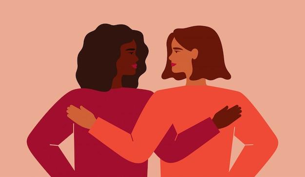 Zwarte vrouw omhelst haar vriend en ze kijken naar elkaar. Premium Vector